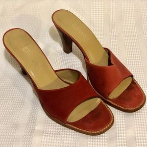 Vintage BERNARDO Slides Deep Rose/Burgundy Brown